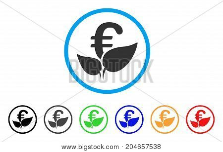 Euro Agriculture Startup rounded icon. Style is a flat euro agriculture startup gray symbol inside light blue circle with black, gray, green, blue, red, orange variants.