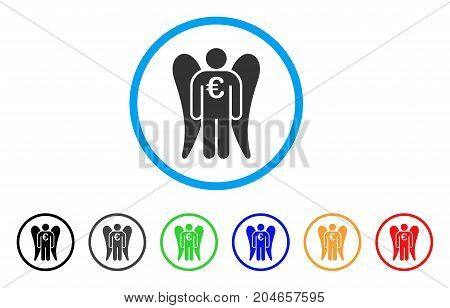Euro Angel Investor rounded icon. Style is a flat euro angel investor gray symbol inside light blue circle with black, gray, green, blue, red, orange color versions.