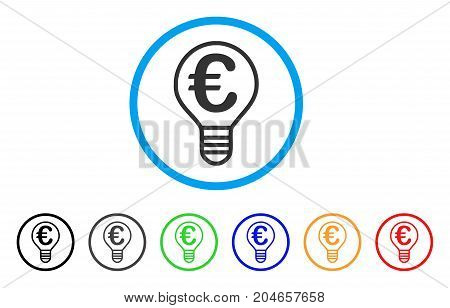Euro Bulb rounded icon. Style is a flat euro bulb grey symbol inside light blue circle with black, gray, green, blue, red, orange versions. Vector designed for web and software interfaces.