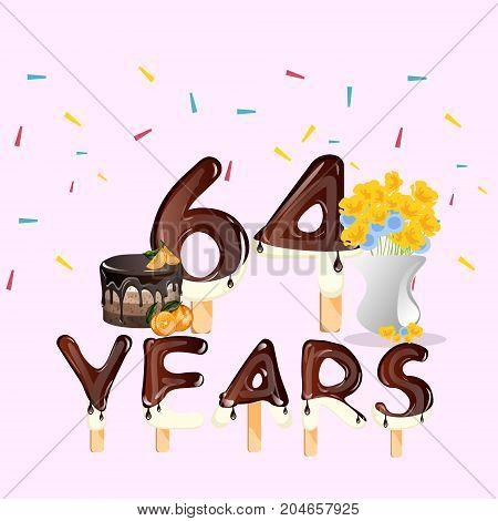 64 Years Happy Birthday card. Vector illustration