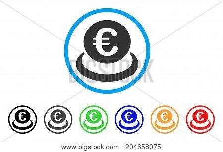 Euro Deposit rounded icon. Style is a flat euro deposit grey symbol inside light blue circle with black, gray, green, blue, red, orange versions. Vector designed for web and software interfaces.
