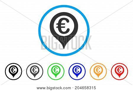 Euro Geotargeting rounded icon. Style is a flat euro geotargeting gray symbol inside light blue circle with black, gray, green, blue, red, orange color versions.