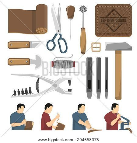 Skinner tools decorative icons set used for scribing cutting sewing leather goods flat vector illustration
