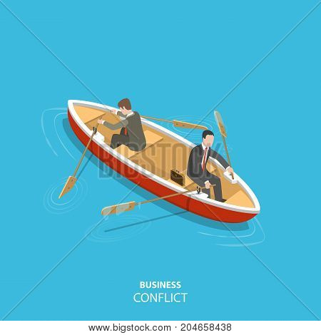 Business conflict flat isometric low poly vector concept. Two businessmen in are sitting the same boat try to move it in the different directions.