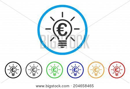Euro Idea Bulb rounded icon. Style is a flat euro idea bulb gray symbol inside light blue circle with black, gray, green, blue, red, orange color versions.