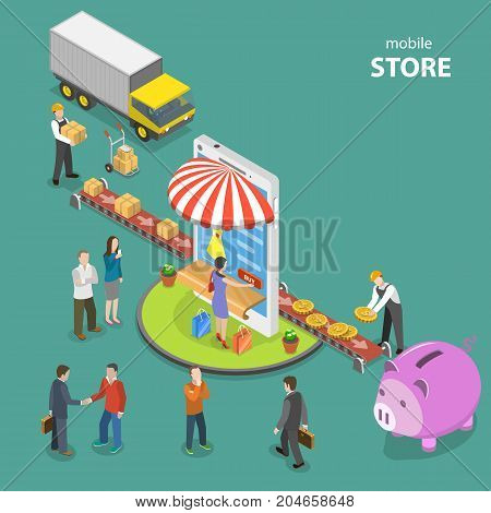 Mobile store flat isometric low poly vector concept. Conveyor bring goods to the mobile shop which sells them to people. The second part of conveyor carry money to the piggy bank.