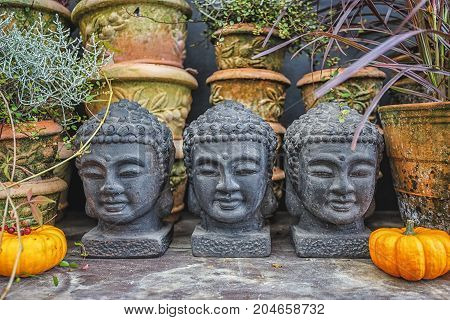 Buddha head decorative statues on autumn decorated table.