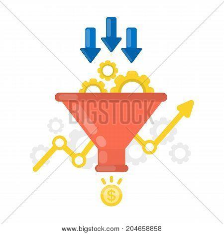 Sales funnel concept illustration on white background.