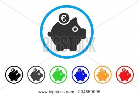 Euro Piggy Bank rounded icon. Style is a flat euro piggy bank grey symbol inside light blue circle with black, gray, green, blue, red, orange color versions.