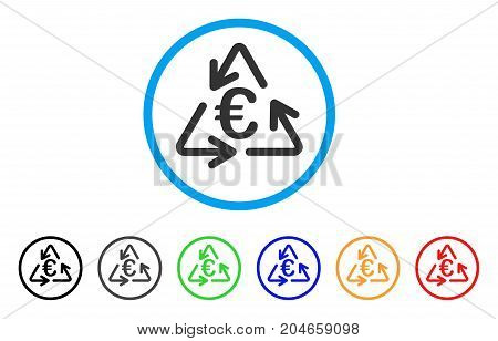 Euro Recycling rounded icon. Style is a flat euro recycling gray symbol inside light blue circle with black, gray, green, blue, red, orange variants. Vector designed for web and software interfaces.
