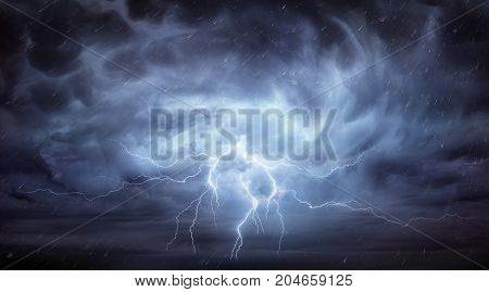 Rain And Thunderstorm In Dramatic Grey And Blue Sky