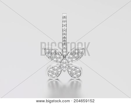 3D illustration white gold or silver decorative diamond butterfly earring with reflection and shadow on a grey background