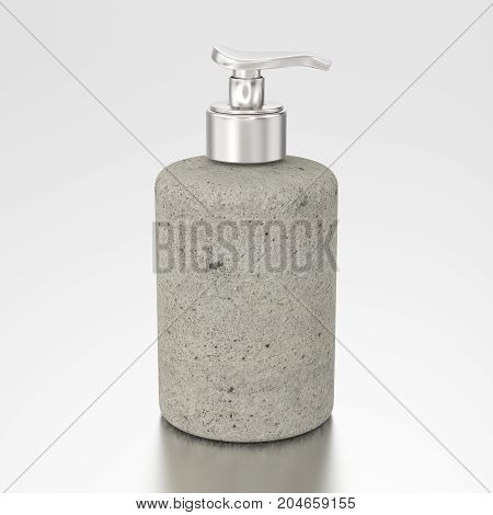 3D illustration stone bottle with liquid soap on a grey background