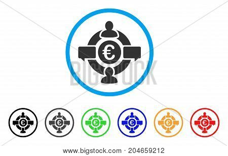 Euro Social Network rounded icon. Style is a flat euro social network gray symbol inside light blue circle with black, gray, green, blue, red, orange color versions.