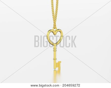 3D illustration yellow gold decorative key in the form of a heart necklace on chain with reflection and shadow on a grey background