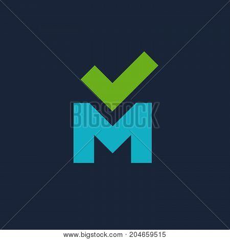 Letter M Check Mark Logo Icon Design Template Elements