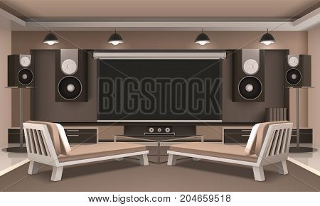 Modern home theater interior with audio and video equipment, couches, journal table, hanging lamps 3d vector illustration
