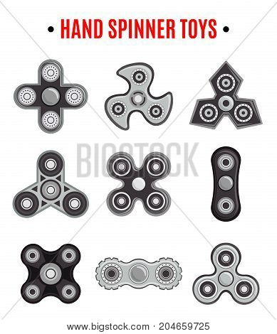 Rotation fidget hand spinner stress relieving and increasing concentration toys black icons collection isolated vector illustration
