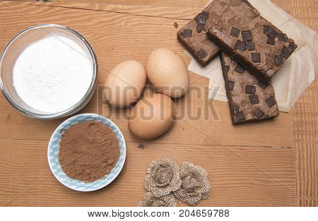 Chocolate brownie slices with eggs, flour and coco powder.