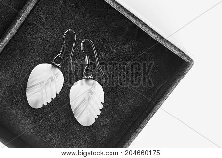 Elegant white nacre earrings in black jewel box closeup