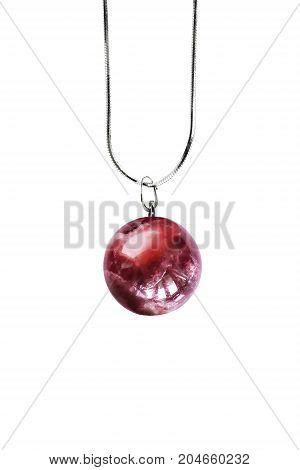 Elegant red garnet ball pendant on white background