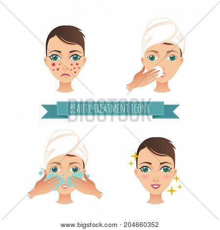 Beauty care illustration, acne treatment, demodicosis. For your design