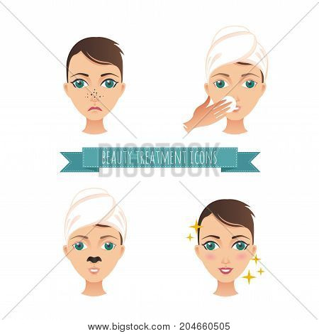 Beauty treatment illustration, acne treatment, face cleaning, mask for your design