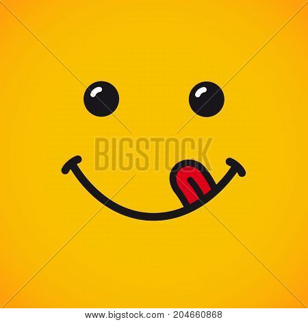 Yummy emoticon smile face banner. Yummy emotion face with tongue on yellow background for World Smile Day vector illustration