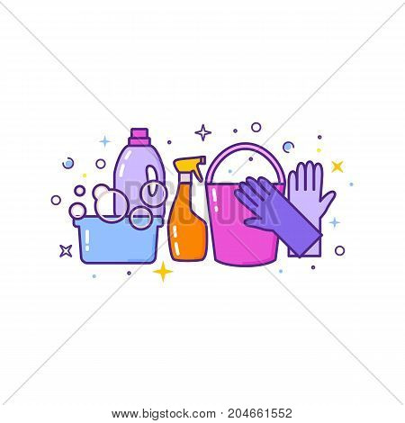 Flat design logo for cleaning service isolated on white. Vector illustration.