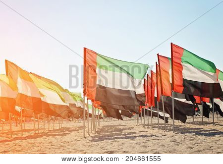 Celebration of National Day - Day of the United Arab Emirates Large number of flags of the United Arab Emirates on the sand toned
