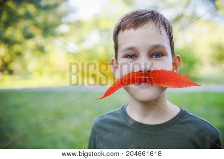 funny boy with fake mustaches. portrait of a child with a mustache of red autumn leaves. The concept of happy autumn. Blurred background. Copy space for your text