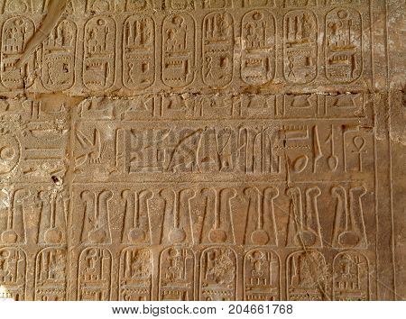 Ancient Egyptian hieroglyphs on the wall of Luxor Temple, without people, Thebes, UNESCO World Heritage Site, Egypt, North Africa, Africa
