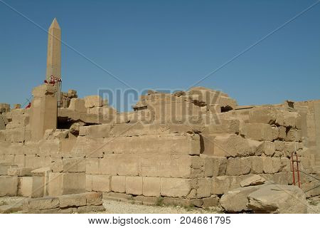 Ruins of an Ancient Temple in Luxor, without people, Thebes, UNESCO World Heritage Site, Egypt, North Africa, Africa