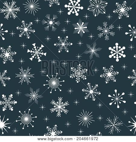 white snowflakes with stars on blue background horizontally and vertically seamless pattern vector background