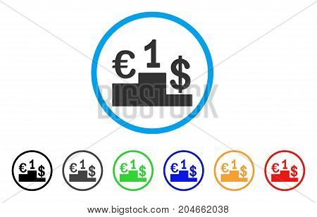 Currency Competition rounded icon. Style is a flat currency competition grey symbol inside light blue circle with black, gray, green, blue, red, orange color versions.