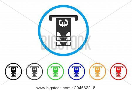 Euro ATM Withdraw rounded icon. Style is a flat euro ATM withdraw grey symbol inside light blue circle with black, gray, green, blue, red, orange color versions.
