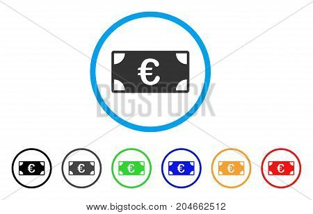 Euro Banknote rounded icon. Style is a flat euro banknote grey symbol inside light blue circle with black, gray, green, blue, red, orange versions. Vector designed for web and software interfaces.