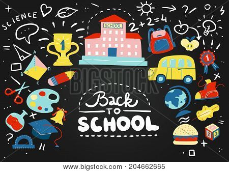 Colored cartoon school chalkboard composition with childrens chalk drawn doodles and phrases vector illustration