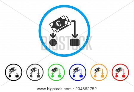 Euro Cash Flow rounded icon. Style is a flat euro cash flow gray symbol inside light blue circle with black, gray, green, blue, red, orange color versions.