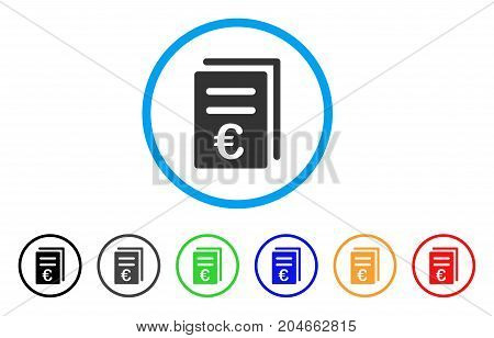 Euro Catalog List rounded icon. Style is a flat euro catalog list grey symbol inside light blue circle with black, gray, green, blue, red, orange versions.