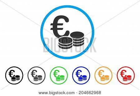 Euro Coin Stacks rounded icon. Style is a flat euro coin stacks grey symbol inside light blue circle with black, gray, green, blue, red, orange versions.