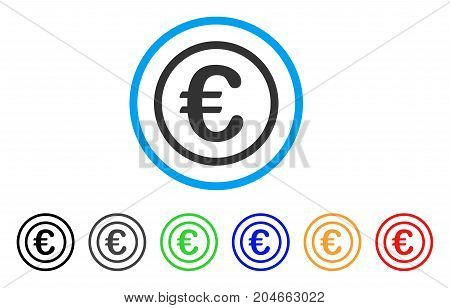 Euro Coin rounded icon. Style is a flat euro coin grey symbol inside light blue circle with black, gray, green, blue, red, orange variants. Vector designed for web and software interfaces.