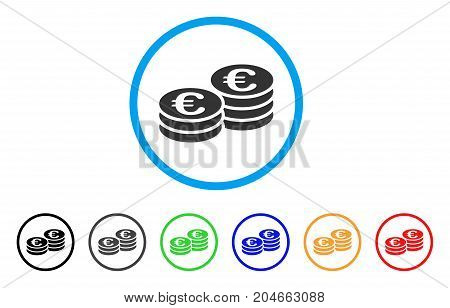 Euro Coins rounded icon. Style is a flat euro coins grey symbol inside light blue circle with black, gray, green, blue, red, orange variants. Vector designed for web and software interfaces.