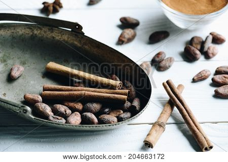 Cacao Beans And Cinnamon Sticks