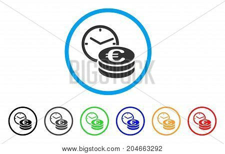 Euro Credit rounded icon. Style is a flat euro credit grey symbol inside light blue circle with black, gray, green, blue, red, orange versions. Vector designed for web and software interfaces.