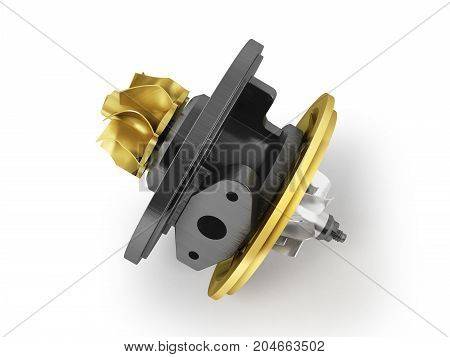 Concept Cartridge To Turbine On Auto Gold 3D Render On White Background