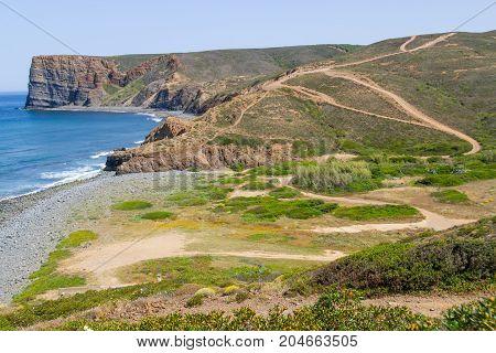 Beach, Cliffs, Trail And Mountain In Canal Beach