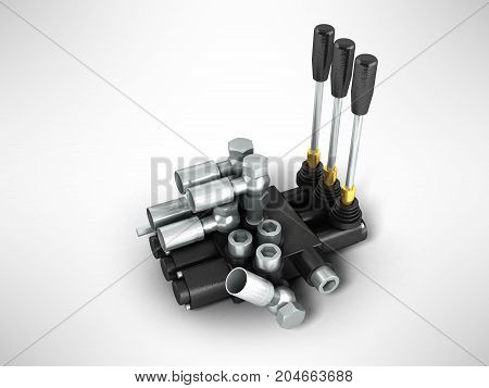 Concept Of A Hydraulic Distributor 3D Render On A Gray Background