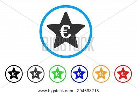 Euro Hit Parade Star rounded icon. Style is a flat euro hit parade star grey symbol inside light blue circle with black, gray, green, blue, red, orange color versions.