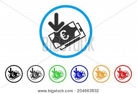 Euro Income Banknotes rounded icon. Style is a flat euro income banknotes gray symbol inside light blue circle with black, gray, green, blue, red, orange variants.